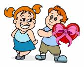 Boy Presenting Heart Gift to His Girlfriend — Stock Vector