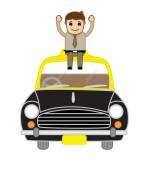 Happy Businessman Sitting Over the Car — Stock Vector