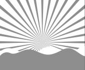 Vintage Mountain Sunburst in Cartoon Style — Stock Vector