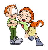 Happy Cartoon Boy and Girl Vector — Stock Vector
