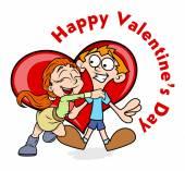 Happy Girl Hugs to Her Boyfriend on Valentine — Stock Vector