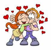 Happy Young Valentine Cartoon Couple — Stock Vector