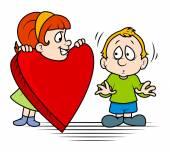 Girl Presenting Heart to a Cute Boy — Stock Vector