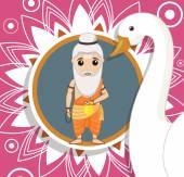 Cartoon Rishi - Hinduism — Vector de stock