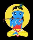 Jai Shree Krishna - Indian God — Vector de stock