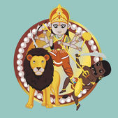 Mythology Indian Goddess - Durga Mata — Stock vektor