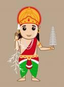 Cartoon Mythological Hindu Indra God — Vector de stock