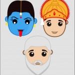 Indian Mythological Gods Faces — Stock Vector #76710159