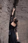 Flameco dancer in a basalt ravine — Stock Photo