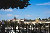 The sun, the Czech Republic, Prague, bridge, beauty, city, water, river, castle, — Stock Photo