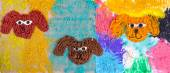 "Children's application of plasticine on the cardboard ""Three dogs"" — Stock Photo"