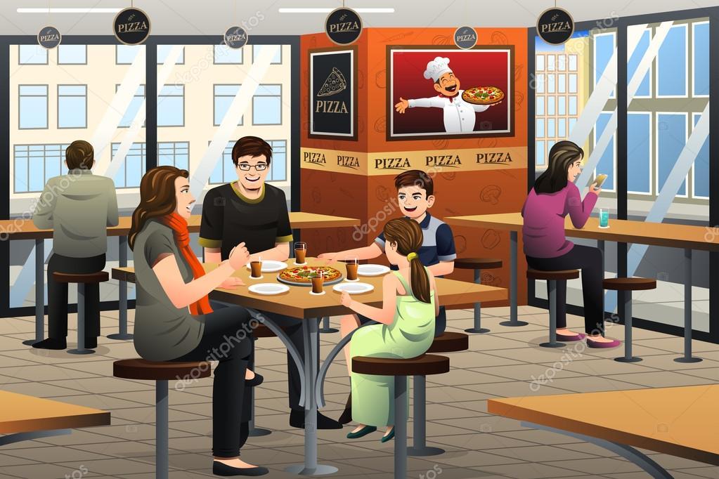 Family Eating Pizza — Stock Vector © artisticco #107462836