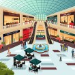 Scene inside shopping mall — Stock Vector #51940045