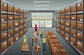 Distribution warehouse — Stock Vector