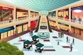 Scene inside shopping mall — Stock Vector