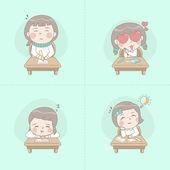 Little girl studying — Stock Vector