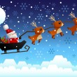Santa Claus riding the sleigh — Stock Vector #52982763