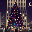 Crowd in the city near big lighted Christmas tree — Stock Vector #52983013