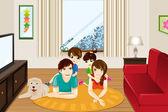 Familie thuis — Stockvector