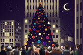 Crowd in the city near big lighted Christmas tree — Stock Vector