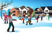 Kids playing snow ball fight — Vector de stock