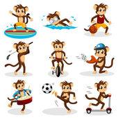 猴子做活动 — 图库矢量图片