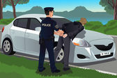 Cop handcuffs a law-breaker — Wektor stockowy