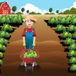 Little boy working in a vegetable farm — Stock Vector #54163453