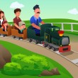 Kids and their parents riding a small train — Stock Vector #54261437