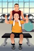 Personal trainer training an elderly man — Stockvector