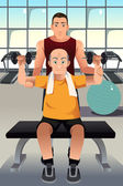 Personal trainer training an elderly man — Vetorial Stock