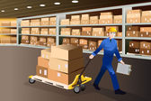 Man working in a warehouse — Stock Vector