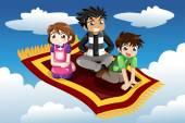 Kids riding on a flying carpet — Vector de stock