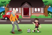 Grandpa and grandson playing soccer  — Stock Vector