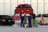 Auto mechanic fixing a car under the hood — Stockvector