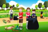 Kids volunteering cleaning up the park — Stock Vector