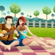 Couple playing guitar together in a park — Stock Vector #54488679