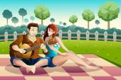 Couple playing guitar together in a park — Stock Vector