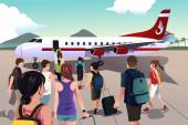 Tourists boarding on a plane — Stock Vector