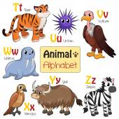 Alphabet animals from T to Z — Stock Vector