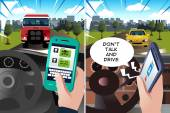 """Concept of """"don't text and drive"""" and """"don't talk and drive"""" — Stock Vector"""