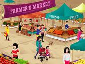 Boeren markt scène — Stockvector