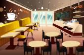 Interior of a modern coffee shop — Stock Vector
