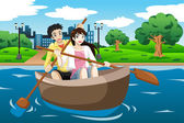 Happy couple rowing a boat — Stock Vector