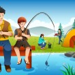 Family going fishing on a camping trip — Stock Vector #57014263