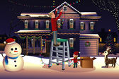 Father son putting up lights around the house for Christmas — Stockvektor