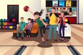 Young people at bowling — Stockvektor