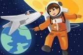 Kid imagining as an astronaut — Stock Vector