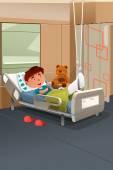 Kid with broken leg in the hospital — 图库矢量图片