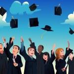 Students celebrating their graduation — Stock Vector #58671523